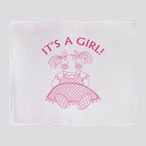 It's A Girl! Throw Blanket