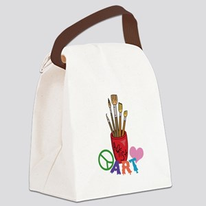 PEACE LOVE ART Canvas Lunch Bag