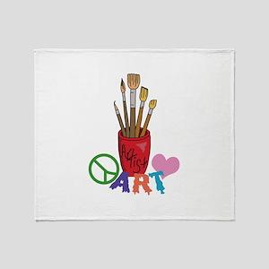 PEACE LOVE ART Throw Blanket