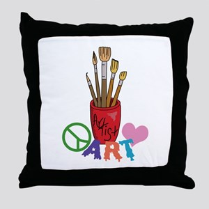 PEACE LOVE ART Throw Pillow