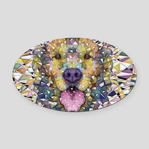 Rainbow Dog Oval Car Magnet