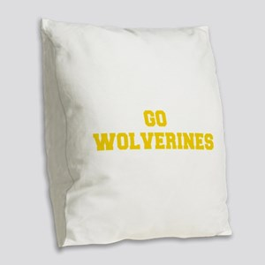 Wolverines-Fre yellow gold Burlap Throw Pillow