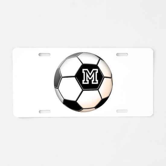 Soccer Ball Monogram Aluminum License Plate