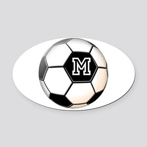 Soccer Ball Monogram Oval Car Magnet