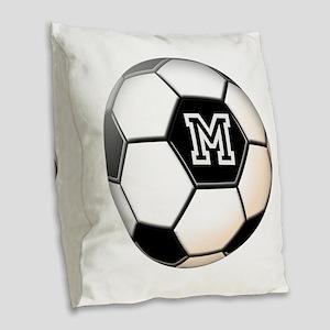 Soccer Ball Monogram Burlap Throw Pillow