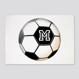 Soccer Ball Monogram 5'x7'Area Rug