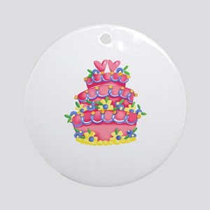 CAKE WITH HEARTS Ornament (Round)