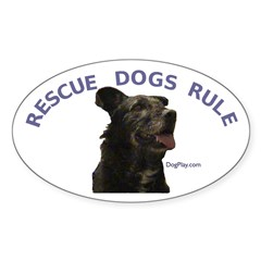 Rescue Dogs Rule (Custom) Oval Decal