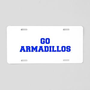 Armadillos-Fre blue Aluminum License Plate