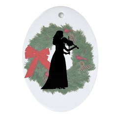 Lady Violinist Oval Ornament