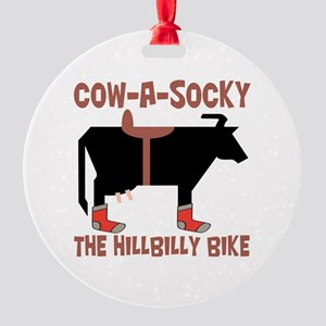 Cow A Socky Hillbilly Bike Round Ornament