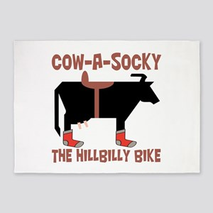 Cow A Socky Hillbilly Bike 5'x7'Area Rug
