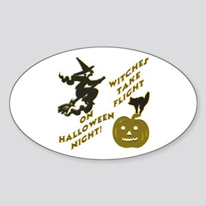 Witches Take Flight Oval Sticker