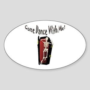 Skeleton Dance Oval Sticker