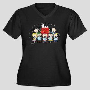 Peanuts Gang Women's Plus Size V-Neck Dark T-Shirt
