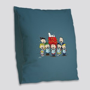 Peanuts Gang Christmas Burlap Throw Pillow