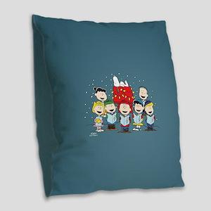 Peanuts Gang Christmas Burlap Throw Pillow