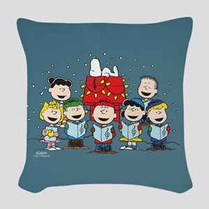 Peanuts Gang Christmas Woven Throw Pillow