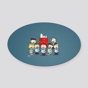 Peanuts Gang Christmas Oval Car Magnet