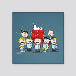 "Peanuts Gang Christmas Square Sticker 3"" x 3"""