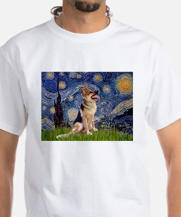 Starry Night & German Shepherd 1 White T-Shirt