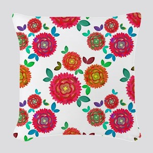 Pretty Roses Woven Throw Pillow
