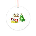 Sleeping Santa Chin (Ornament, round)