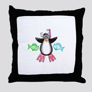 SWIMMING WITH FRIENDS Throw Pillow
