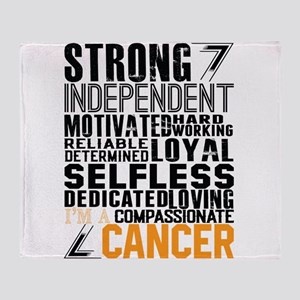 Strong Independent Motivated Cancer Throw Blanket