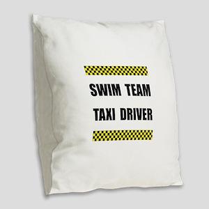 Swim Team Taxi Driver Burlap Throw Pillow