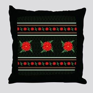 Red Flower Chinoiserie Throw Pillow