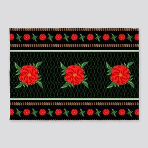 Red Flower Chinoiserie 5'x7'Area Rug