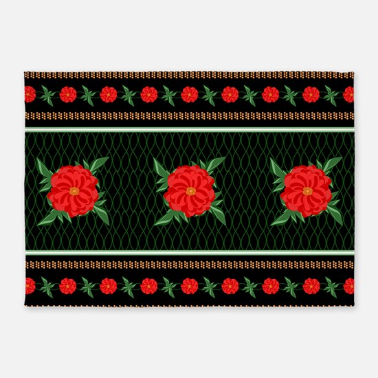 Red Flower Chinoiserie 5 X7 Area Rug