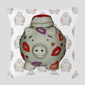 Adorable Lipstick Pig Close-Up Woven Throw Pillow