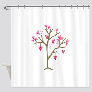 TREE WITH HEARTS Shower Curtain