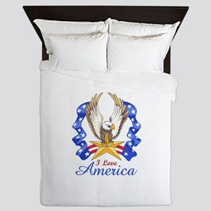 I LOVE AMERICA EAGLE Queen Duvet