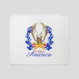 I LOVE AMERICA EAGLE Throw Blanket
