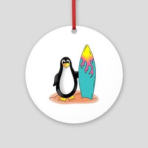 PENGUIN SURFER Ornament (Round)