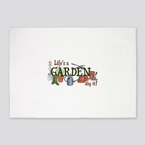 Life's A Garden Dig It! 5'x7'Area Rug