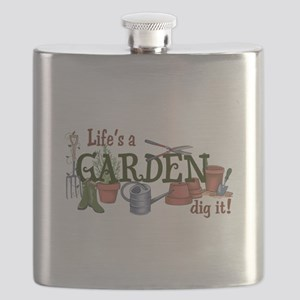 Life's A Garden Dig It! Flask