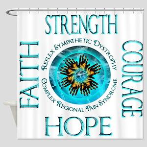 CRPS RSD Faith Courage Strength Hop Shower Curtain