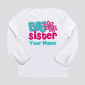 Big Sister Teal Pink Personalized Long Sleeve T-Sh