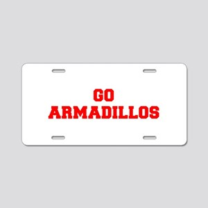 ARMADILLOS-Fre red Aluminum License Plate