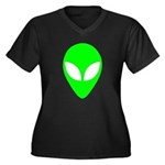 Alien Head Women's Plus Size V-Neck Dark T-Shirt