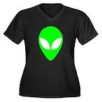 Alien Head Women's Plus Size V-Neck Dark T-Shirt