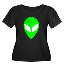 Alien Head Women's Plus Size Scoop Neck Dark T-Shi