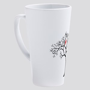 Red Cardinal in Tree with Cat 17 oz Latte Mug