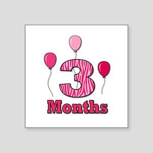 3 Months - Pink Zebra Sticker