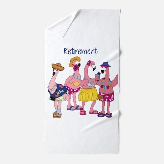 Retired Flamingos Beach Towel