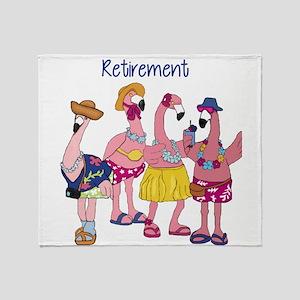 Retired Flamingos Throw Blanket